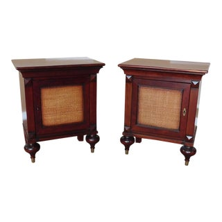 Grange Furniture French Indochine Asian Influenced Nightstand Tables - a Pair