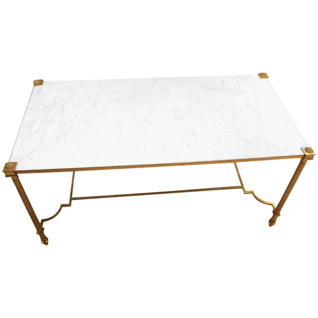 Maison Jansen Style Brass & White Marble Top Coffee Table For Sale