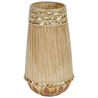Studio Pottery Ribbed and Glazed Vase For Sale
