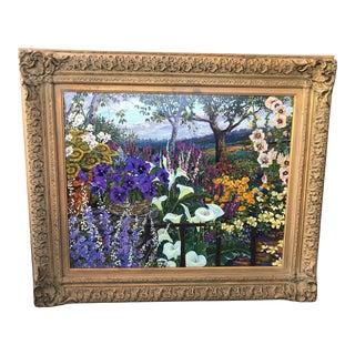 "1990s ""Hidden Cabin"" Plein Air Botanical Landscape Silk Print on Linen by John Powell, Framed For Sale"