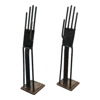 Glove Molds In Metal - A Pair For Sale