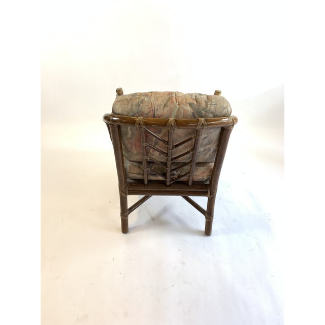 Contemporary 1970s Vintage McGuire Rawhide Laced Rattan Chair For Sale - Image 3 of 5