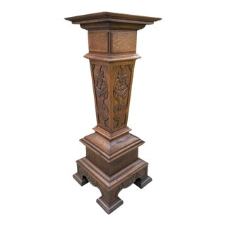 Antique French Gothic Oak Pedestal Plant Stand Bronze Display Table For Sale