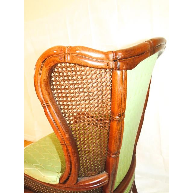 2000s English Traditional Green Upholstered Faux Bamboo Wingback Chair For Sale - Image 5 of 9