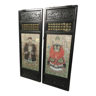 1920s Vintage Asian King & Queen Panels - A Pair