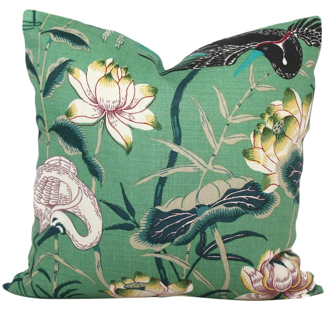 "20"" x 20"" Jade Lotus Garden Decorative Pillow Cover For Sale"