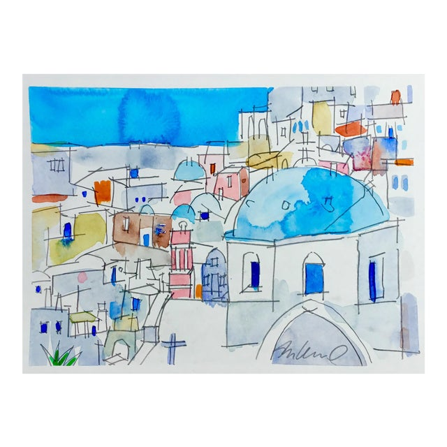 """Mykonos"" Cityscape Watercolor Painting For Sale"