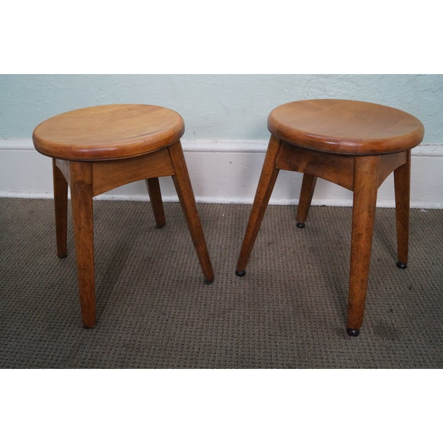 Vintage Solid Maple Stools Benches - Set of 5 - Image 3 of 9
