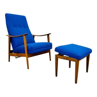 Mid Century Scandinavian Modern Teak and Electric Blue Tweed Lounge Chair With Matching Ottoman by Stokke Fabrikkers of Norway - a Pair For Sale