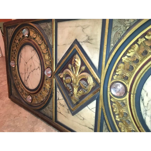Religious 18th Century Antique French Polychrome Wood, Marble, & Glass Panel For Sale - Image 3 of 13
