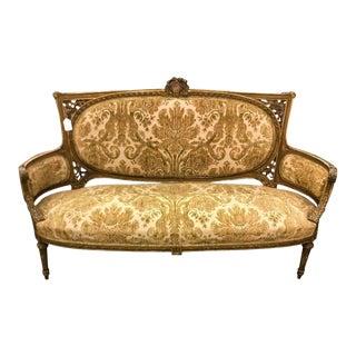 Antique Louis XVI Gilt-Wood Salon Settee Sofa For Sale