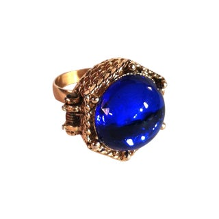 1960s Blue Cabochon Poison Cocktail Ring