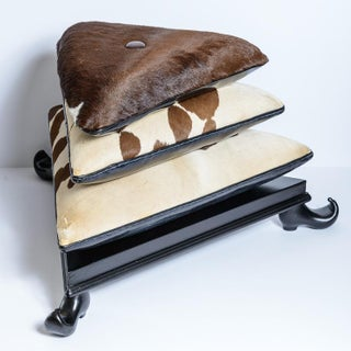 Rare Triangular Three Tier Cowhide Ottoman on Black Lacquer Base & Aladin Feet Preview