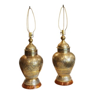 Large Vintage Etched Brass Lamps - a Pair