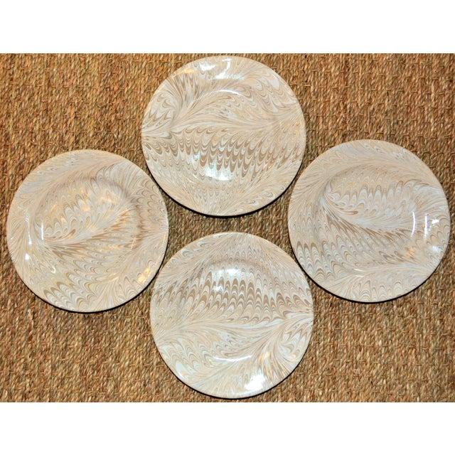 Hollywood Regency Brown Firenze Marbleized Ceramic Cocktail Plates - Set of 4 For Sale - Image 3 of 6