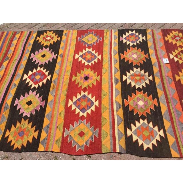 Mediterranean Vintage Aztec Kilim Rug For Sale - Image 3 of 9