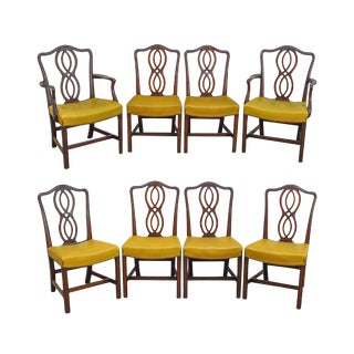 George III Chippendale Style Antique Mahogany Dining Chairs - Set of 8