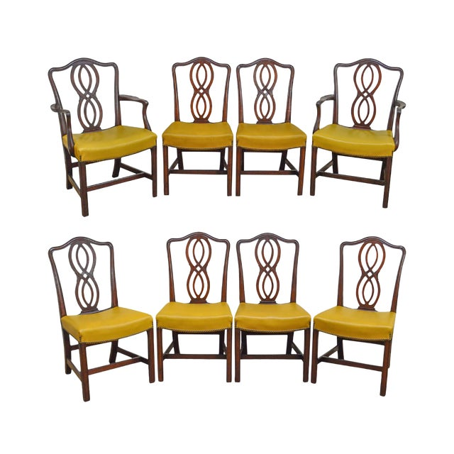 George III Chippendale Style Antique Mahogany Dining Chairs - Set of 8 For Sale