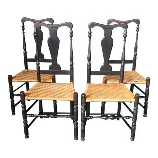 Late 20th Century Vintage Black Shaker Style Country Dining Chairs- Set of 4 For Sale