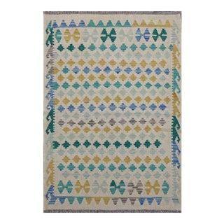 Beige and Blue Handmade Wool Reversible Kilim Rug - 3′5″ × 4′9″ For Sale