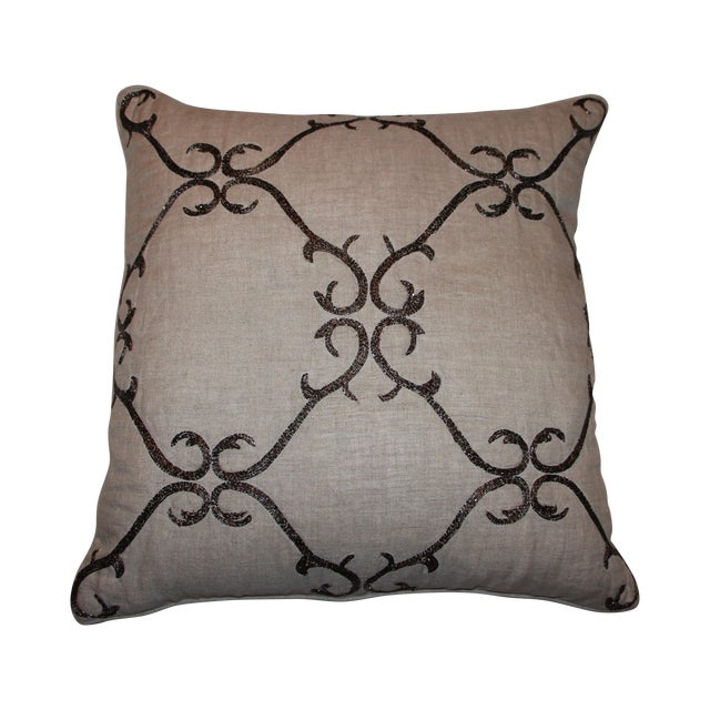 Beaded Linen Pillow by Sferra - Image 1 of 5