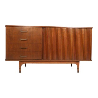 Small Vintage Modern Credenza with a Tambour Door For Sale