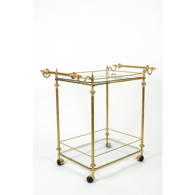 Vintage Solid Brass / Glass Shelves Two-Tier Bar Cart For Sale - Image 11 of 13