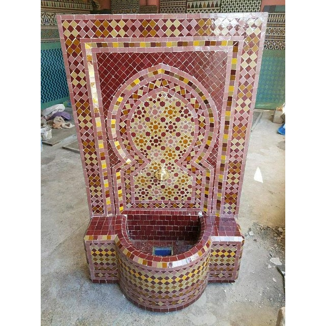 Moroccan Burgundy Multicolor Tile Fountain For Sale In Orlando - Image 6 of 6