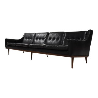 Milo Baughman Black Vinyl Sofa For Sale