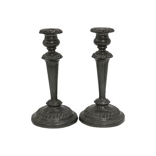Antique English Pewter Candlesticks - a Pair For Sale