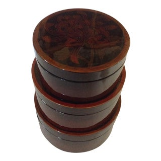 Trio of Lacquered Nesting Boxes For Sale