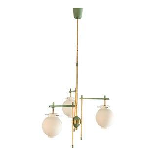 1950s Mid Century Green Whte and Brass Modern Stilnovo Italian Chandelier For Sale