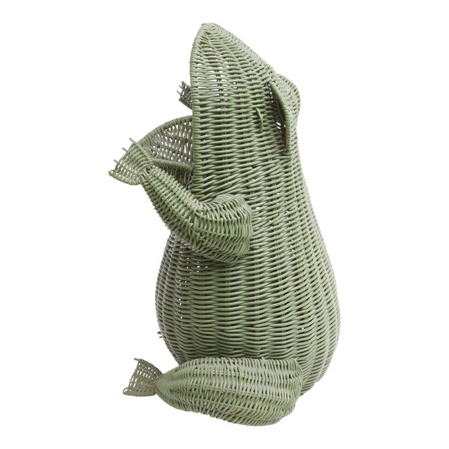 Mid Century Large Wicker Frog Basket For Sale
