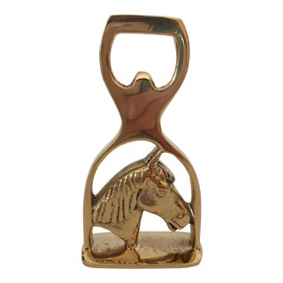 Brass Horse & Stirrup Bottle Opener For Sale