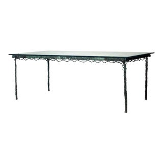 Mid-Century French Etched Glass and Verdigris Bronze Dining Table For Sale