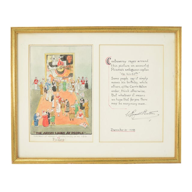 """1955 William Russell Button """"Picasso"""" Modern Art Exhibition Watercolor Painting For Sale"""
