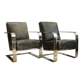 New Distressed Leather and Chrome Ralph Lauren Home Lounge Chairs - a Pair