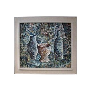 Loren Mid-Century Cubist Oil Painting For Sale