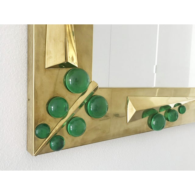 2010s Verde Brass Mirror with Green Murano Glass Inserts by Fabio Ltd For Sale - Image 5 of 10