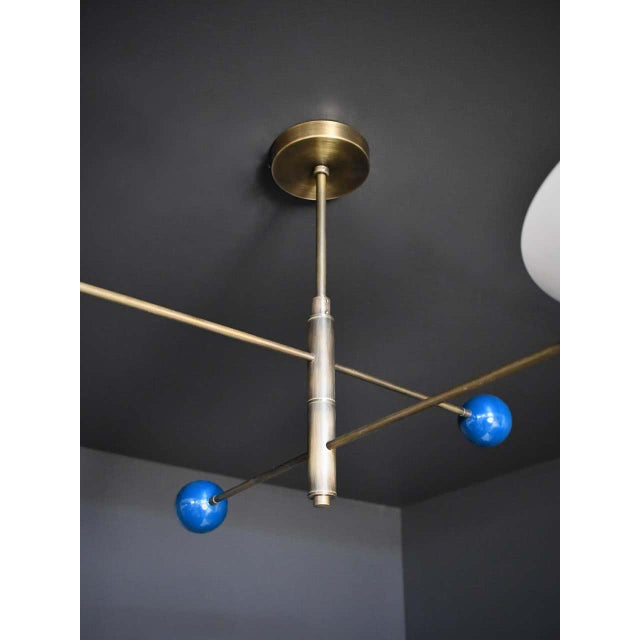Blueprint Lighting Modern 2-Tier Catalonia Fixture in Enamel and Brass by Blueprint Lighting, Nyc For Sale - Image 4 of 5