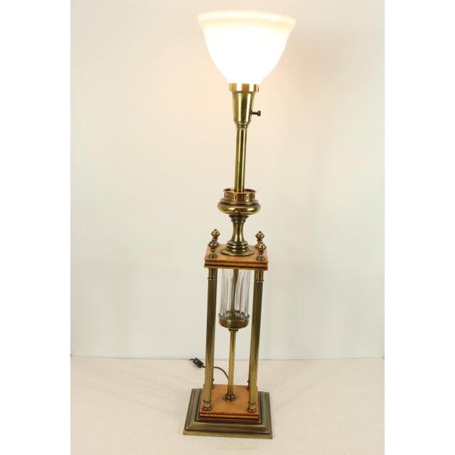 1960s 1960s Mid Century Modern Brass Wood Glass Stiffel Regency Table Lamp Light For Sale - Image 5 of 12