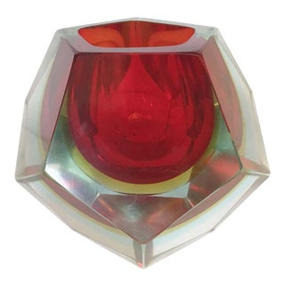 Red Faceted Sommerso Bowl by Mandruzzato For Sale