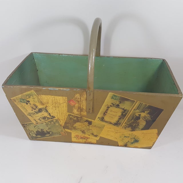 This antique wooden tote or basket has been decoupaged with old, Victorian post cards. We have known the artist for over...