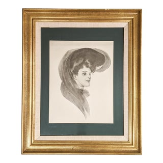 Vintage Portrait of a Victorian Woman in Beautiful Gold Frame