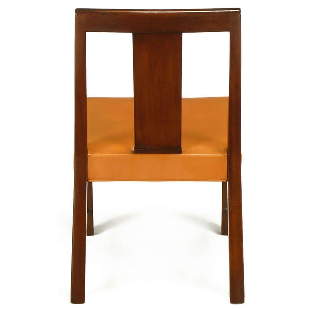 Animal Skin Eight Edward Wormley Mahogany, Leather and Brass Dining Chairs For Sale - Image 7 of 9