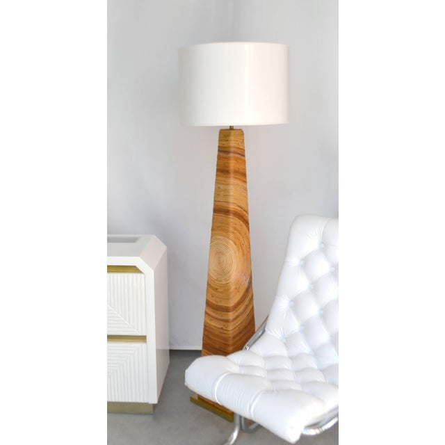 Midcentury Cut Reed Floor Lamp For Sale - Image 10 of 11