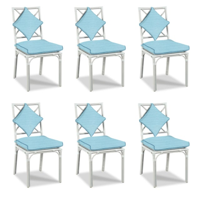 Not Yet Made - Made To Order Haven Outdoor Dining Chairs, Canvas Mineral Blue with Canvas Sapphire Welt - Set of 6 For Sale - Image 5 of 5