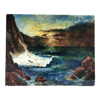 1966 Oil on Canvas Seascape Signed Robert Chapman For Sale