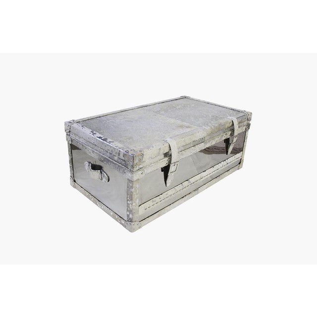 Forest Collection Steel and Cowhide Silver Trunk - Image 3 of 5