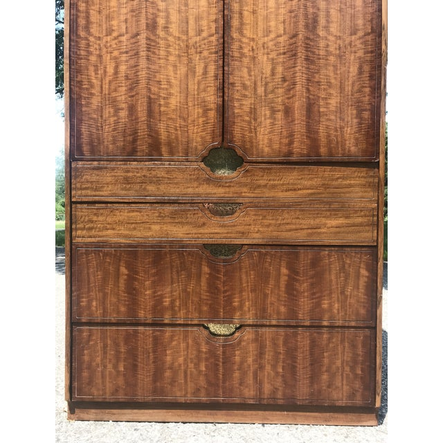 Mid-Century Modern Walnut and Gold Gilted Armoire by Baker Furniture For Sale - Image 3 of 10